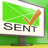 Sent Envelope On Monitor Showing Delivered Messages. Or Correspondence Stock Photos