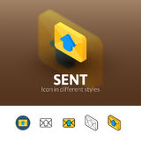 Sent icon in different style. Sent color icon, vector symbol in flat, outline and isometric style isolated on blur background Royalty Free Stock Photos