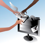 Sent a letter to the computer. Sending letters to the addressee Stock Photo