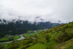 Sent/Scuol from above royalty free stock photos
