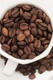 Chicchi di caffè in tazza e piatto bianchi fotografia stock