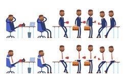 Senta-se na cadeira, braço atrás de sua cabeça Inclina-se ilustração do vetor