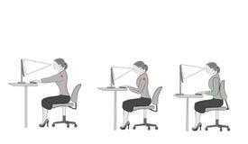 Sentada correcta en los consejos ergonómicos de la postura del escritorio para los oficinistas: cómo sentarse en el escritorio al ilustración del vector