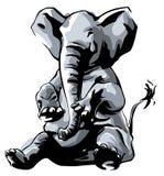 Sentada del elefante Imagen de archivo libre de regalías