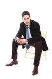 Sentada del hombre de negocios fotos de archivo libres de regalías