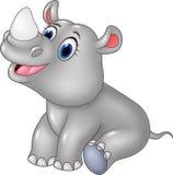 Sentada del rinoceronte del bebé de la historieta aislada en el fondo blanco Fotografía de archivo