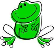 Sentada divertida y sonrisa de la rana verde. Ilustración del Vector