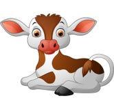 Sentada linda de la vaca del bebé Foto de archivo libre de regalías