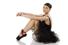 Sentada negra de la bailarina Imagen de archivo