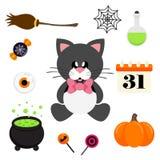 Sentada negra del gato lindo de la historieta con el lazo y el elemento de Halloween Fotografía de archivo libre de regalías