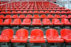 Sentadas rojas Imágenes de archivo libres de regalías