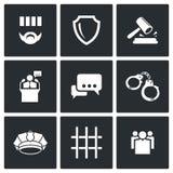 A sentença dos ícones da corte e da detenção ajustados Imagem de Stock Royalty Free
