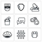 A sentença dos ícones da corte e da detenção ajustados Ilustração do vetor Fotografia de Stock Royalty Free