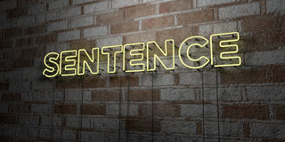 SENTENCE - Glowing Neon Sign on stonework wall - 3D rendered royalty free stock illustration. Can be used for online banner ads and direct mailers Royalty Free Stock Image