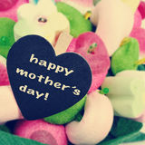 The sentence happy mothers day on a candy bouquet Royalty Free Stock Photos