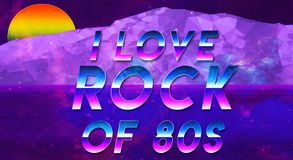 Sentence I love the 80s vaporwave effect cool and galxy new wallpaper. Sentence I love the 80s new illustration fresh and colorful, galxy and vaporwave wallpaper Stock Image