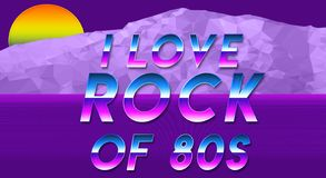 Sentence I love the 80s vaporwave effect new cool wallpaper. Sentence I love the 80s vaporwave effect new cool and fresh illustration Stock Photo