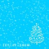 Sentence Let it snow written on blue winter Christmas background stock illustration