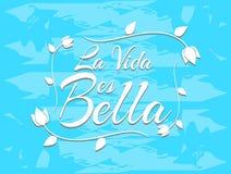 Sentence Life is beautiful in Spanish vector illustration