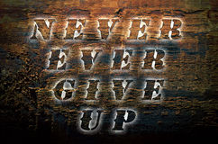 Sentence Never ever give up written on nature wooden background. Sentence Never ever give up written on nature wooden background stock photo
