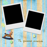 Sentence te quiero mama, love you mom in spanish, two Instant Ph Royalty Free Stock Image