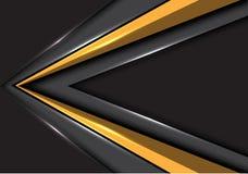 Sentido abstrato da velocidade da seta do ouro no vetor futurista moderno cinzento do fundo do projeto de espaço vazio ilustração royalty free