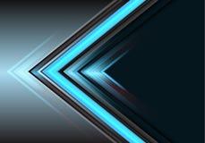 Sentido azul abstrato do poder da luz da seta no vetor futurista moderno do fundo do projeto cinzento ilustração stock