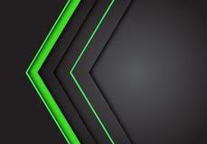 Sentido de néon claro verde da seta do sumário no vetor futurista moderno cinzento escuro do fundo do projeto de espaço vazio ilustração stock