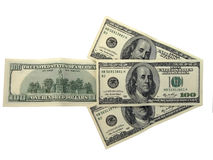Sentido direito dos dólares isolados no branco Fotografia de Stock Royalty Free