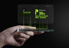 Sentido tridimensional da navegação dos gps na tela do smartphone Foto de Stock Royalty Free
