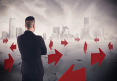 sentidos da rendição 3D para o futuro de uma carreira do homem de negócios Imagens de Stock