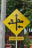 Sentidos em um sinal de estrada Imagem de Stock