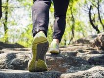 Sentier de randonnée de femme sur l'aventure extérieure de voyage de montagne photos libres de droits