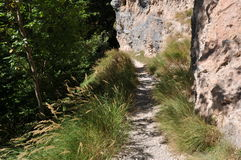 Sentier de randonnée, dolomites de Brenta, Italie Image stock