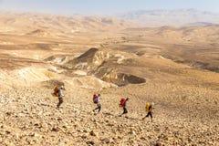 Sentier de randonnée de quatre randonneurs, désert du Néguev, Israël Photo libre de droits