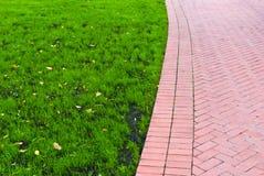 Sentier piéton avec l'herbe verte du côté gauche Photographie stock libre de droits