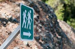Sentier piéton d'itinéraire aménagé pour amateurs de la nature augmentant le signe image libre de droits