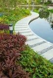 Sentier piéton dans tout un jardin tranquille Photo stock