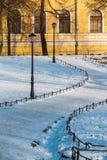 Sentier piéton en parc d'hiver et façade du vieux bâtiment Photo libre de droits