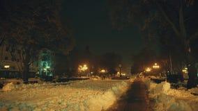 Sentier piéton en parc fabuleux de ville d'hiver banque de vidéos