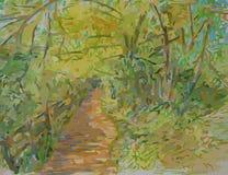 Sentier piéton par des bois Image stock