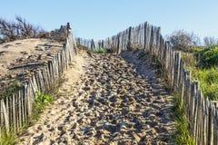 Sentier piéton sur la dune atlantique en Bretagne Images libres de droits