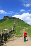 Sentier piéton vers Crayon-y-Gand, Yorkshire du nord Image libre de droits