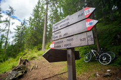 Sentieri Cai the italian mountain trail signs in trentino alto stock photography