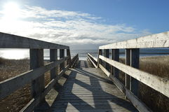 Sentiero costiero alla spiaggia soleggiata Fotografia Stock