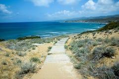 Sentiero costiero di legno alla spiaggia fotografie stock libere da diritti