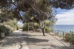 Sentiero per pedoni, Cami de Ronda vicino al mar Mediterraneo in Roda Bera Fotografia Stock Libera da Diritti