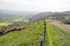 Sentiers de randonnée sur les collines de Malvern dans la campagne anglaise image libre de droits