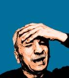 Sentiment de vieil homme fatigué et mal de tête illustration de vecteur