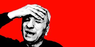 Sentiment de vieil homme fatigué et mal de tête illustration libre de droits